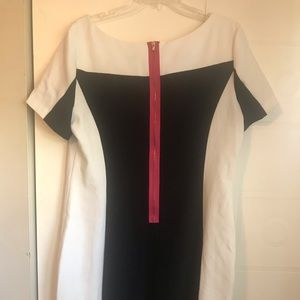 Black and white shift dress w pink zipper accent